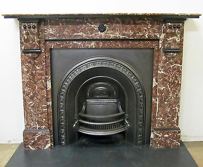Large Victorian / Edwardian Rouge Marble Fireplace Surround with Slate Detail