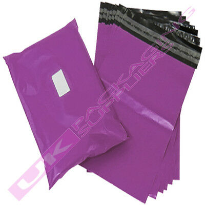 """100 x SMALL 10x14"""" PURPLE PLASTIC MAILING SHIPPING PACKAGING BAGS 60mu S/SEAL"""