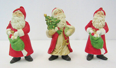 Vintage Lot Of 3 Ceramic Hand Painted Santa Claus Christmas Tree Ornaments