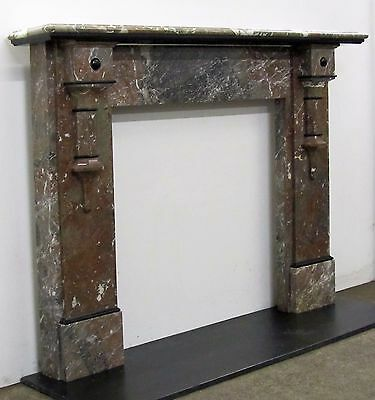Victorian / Edwardian Rouge Marble Fireplace Surround with Slate Detail