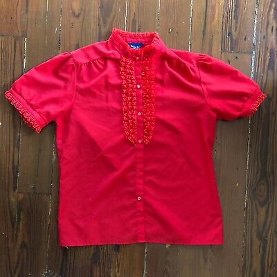 Vintage Red Blouse, Lace-Ruffle Front, Frill, Secretary Top, Small/Medium
