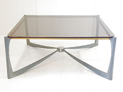 Very Chic Coffee Table Vintage 70 Aluminium Depoli,brass,glass Smoke 70S 70's