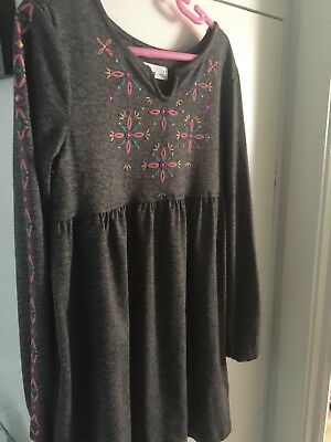 Girl's Long Sleeve Gray with Pink, Blue&Purple Accents Dress-Washable-Size 6-New