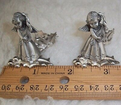 Miniature Pewter Angels Set of 2 Holly Leaves Berries Spiritual Christmas Gifts