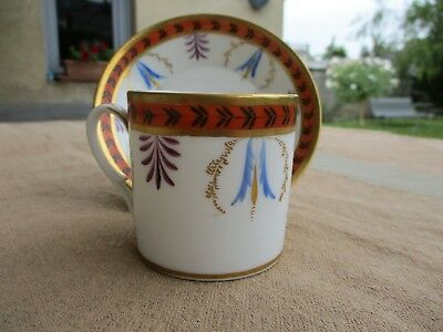 ANTIQUE FRENCH EMPIRE OLD PARIS PORCELAIN CUP & SAUCER EARLY XIXth PALM LEAVES