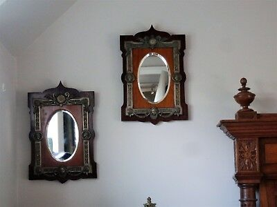 A Rare Unique Pair Of Antique Neoclassical Roman Greek Style Wall Mirrors