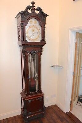 Exceptional Mahogany Musical Longcase Clock Playing 7 Tunes on 9 Tubular Bells
