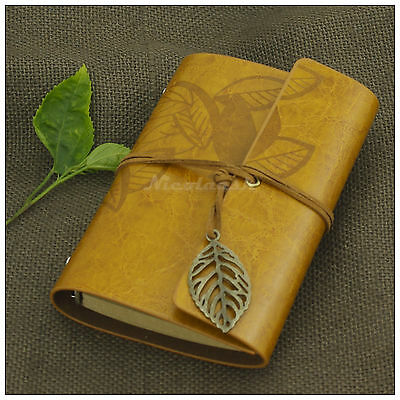 Portable Journals Leaves Leather Refillable Personalized Notebook Goldenrod