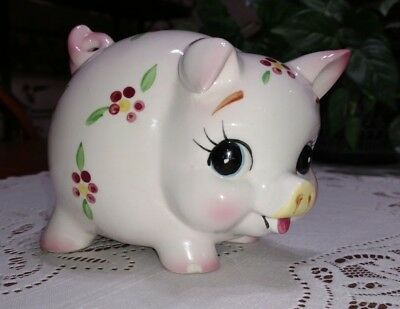 Adorable Vintage Ceramic Piggy Bank With Hand Painted Flowers Made In Japan