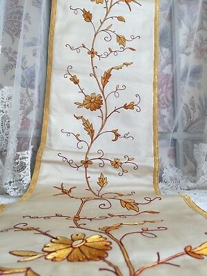 Fabulous Antique French Embroidery Altar Gold Silk Panel Pelmet Valance Canopy