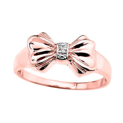 0.03 CTW Round Diamond Beaded Modern Dainty Band Ring in Rose Gold