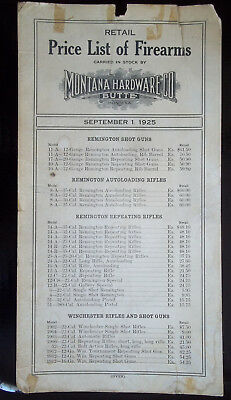 1925 Butte Montana Hardware Firearms Price List 2 Sided Rifles Shotguns