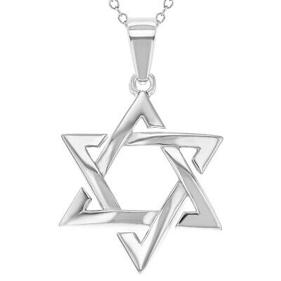 """925 Sterling Silver Star of David Pendant Jewish Necklace 18"""""""