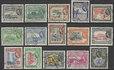 BRITISH GUIANA 1954-63 complete pictorial set of 15 fine used SG#331-345 cat £50