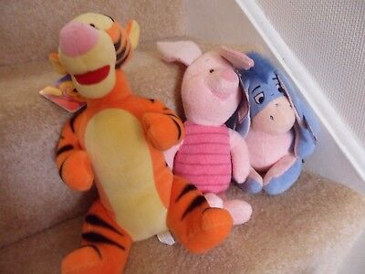NEW Disney TIGGER, PIGLET & EEYORE Soft Toys All With Tags