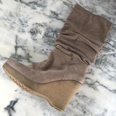f40c80cf99a4 PRADA ROUND TOE KNEE-HIGH Fur Lined BOOTS w Fur Top SIZE 36.5 Euro ...