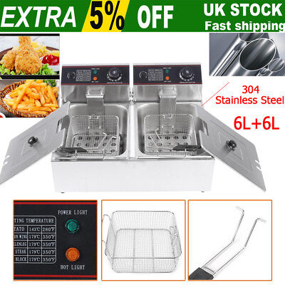 Stainless Steel Home&Commercial Professional 12L Double Deep Tank Electric Fryer