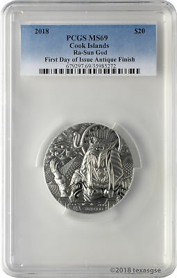 2018 $20 Cook Islands Ra - Sun God 3oz .999 Silver Antiqued Coin PCGS MS69 FD