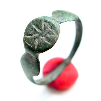 Ancient Old Medieval Bronze Ring With Warrior Image (JUN01)