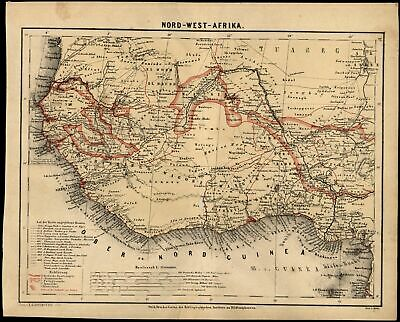 North West Africa great interior details c.1867 detailed German map