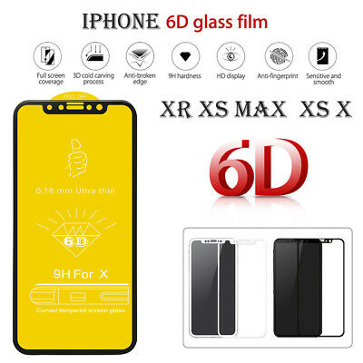 6D Full Curved Protection Cover Tempered Glass Screen Film For iPhoneXS MAX XR