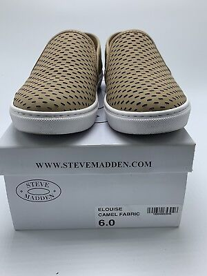 1f11697b717 Womens Steve Madden Elouise Fashion Sneaker Slip On Shoe Size 6 Tan Camel  Beige