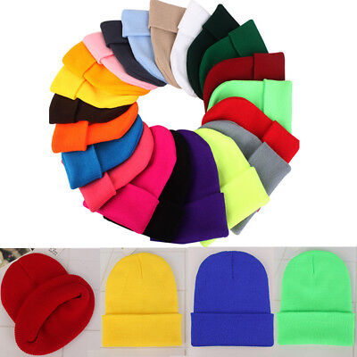 Casual Beanies Knitted Winter Hat Solid Color Hip-hop Skullies Hat Bonnet Cap