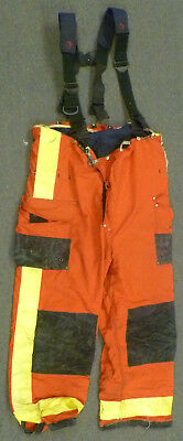 46x30 Janesville Red Pants With Suspenders Firefighter Turnout Fire Gear P970