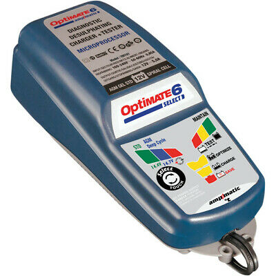 Tecmate Optimate 6 Select 5A Ampmatic Charger 12V STD AGM Deep Cycle Battery