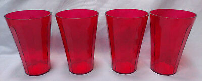 New Tupperware Ice Prisms Red 4 Tumblers Cups 475ml Acrylic Set Clear