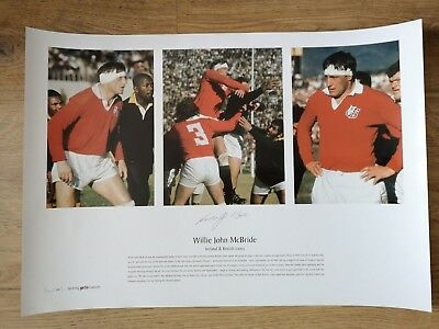 Signed British & Irish Lions Rugby Print -Ireland- Willie John Mcbride