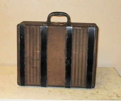 Vintage Antique SMALL CARRY-ON SUITCASE  Wood w/ Dovetail Corners  1920-30s