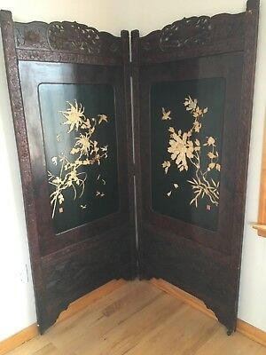 ANTIQUE ASIAN 2-PANEL SCREEN, EARLY 1900's