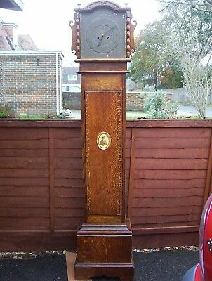 Oak Grandfather Clock Case Brass Dial Smiths Enfield Movement 69.5""
