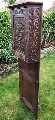 Arts and Crafts Possibly 18th Century Celtic Carved Oak Panel Corner Cupboard