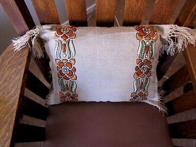 Pillow Arts And Crafts Mission Style Stickley Era Antique Embroidery On Linen