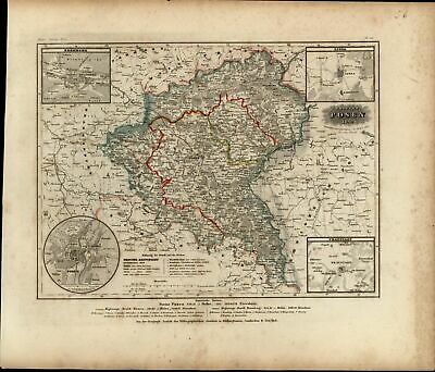 Europe Germany Posen Bromberg 4 Inset city plans 1849 Meyer German detailed map