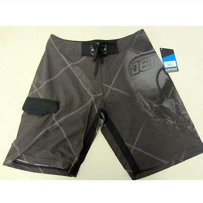 JetPilot New Mens Jet Fighter Boardshorts Swim Suit Trunks Black/Grey Size 30