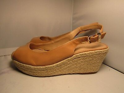 0b87195f3a5e Arturo Chiang Womens 10 Nude Patent Leather Slingback Wedge Heel Espadrilles