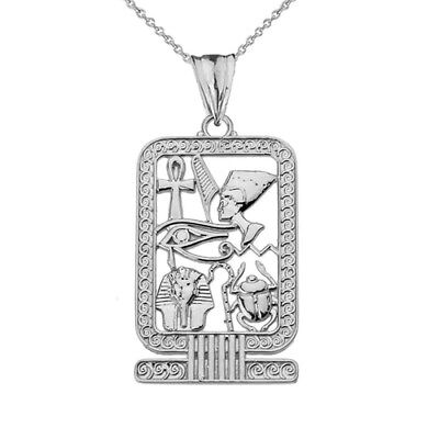 Solid 14k White Gold Ancient Egyptian Cartouche Pendant Necklace