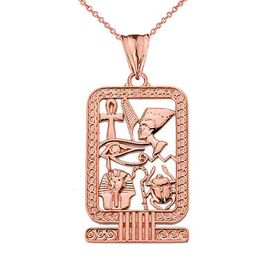 Solid 14k Rose Gold Ancient Egyptian Cartouche Pendant Necklace