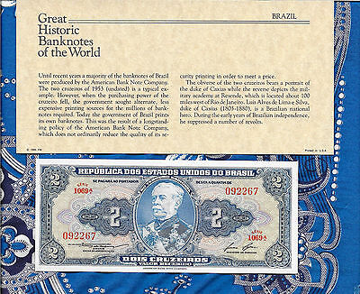 Great Historic Banknotes Brazil 1958 2 Cruzeiros UNC P157Ac serie 1069A