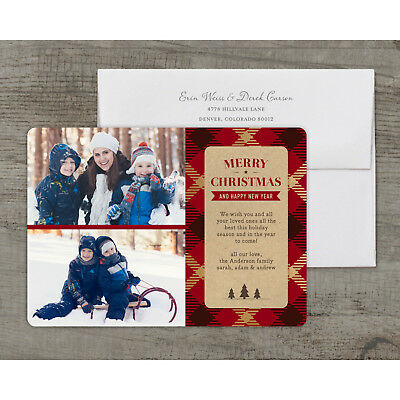 Golden Plaid - Deluxe 5x7 Personalized Holiday Christmas Card