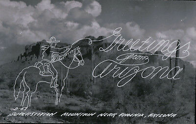 Antique RPPC Superstition Mountains,  Cowboy Roping a Greeting from Arizona