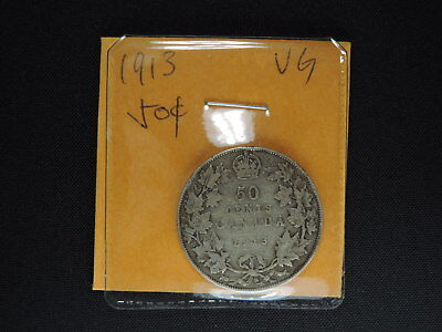 1913 50 Cent Coin Canada King George V Fifty Cents .925 Silver VG Condition