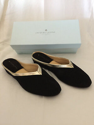 249ef72e3c6 JACQUES LEVINE  4640 Womens Wedge Slipper Size 8.5 Black Suede Gold New in  Box -  79.00