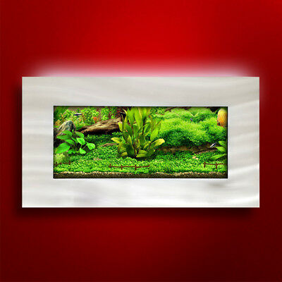 New! Original Aussie Aquarium - View Brushed Aluminum Wall Mounted Fish Tank