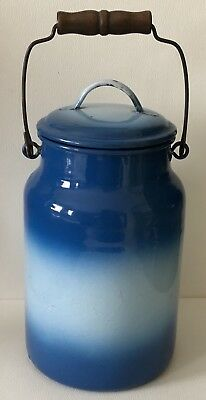 Antique Faded Shaded Blue Enamel Metal Cream Milk Cvd Pail Wood Handle Container