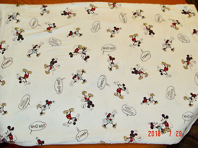 "Vtg Disney Flannel  Flat Sheet Mickey & Minnie Mouse 100% Cotton 82""x98"""