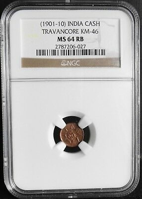 India, Travancore, 1901-10,  Cash, Ngc Ms 64 Rb, Km# 46